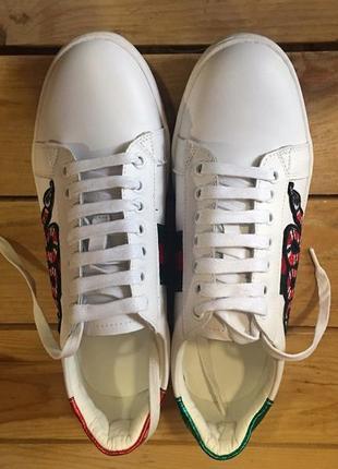 Белые кожаные кроссовки gucci c