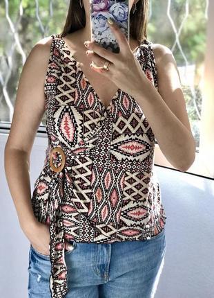 Оригинальная блузка, блуза на запах большого размера new look4