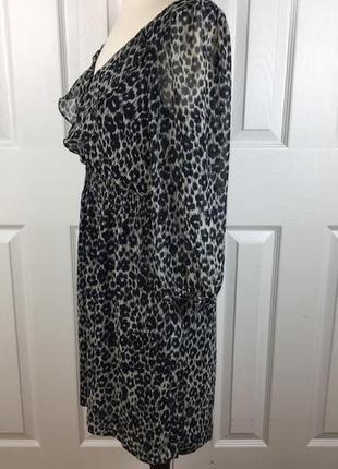 Крутое шифоновое платье zara в животный принт /zara2