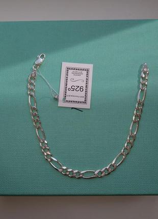 Серебряный браслет плетение фигаро картье серебро 925 пробы1