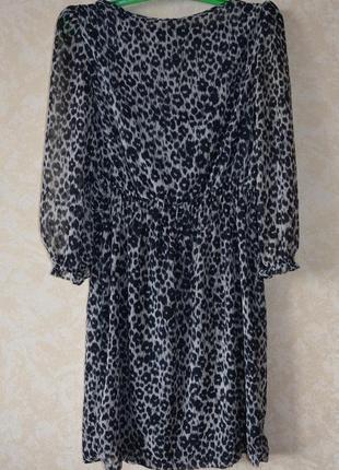 Крутое шифоновое платье zara в животный принт /zara8