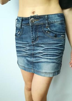 Короткая джинсовая юбка мини d&g2