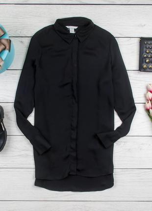 Черная шелковая  блуза от h&m рр 44 eur 16 uk  наш 501