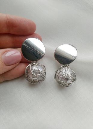 Серьги монетки с жемчужиной1