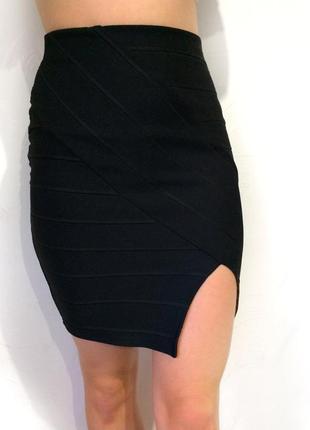 Модная чёрная бандажная юбка завышенная талия, разрез, 34/365 фото