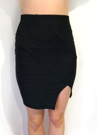 Модная чёрная бандажная юбка завышенная талия, разрез, 34/366 фото