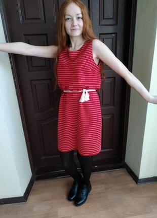Красное платье-тельняшка2