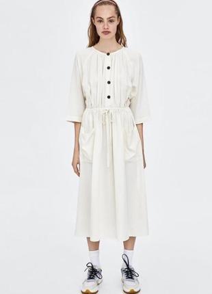 Платье зара zara белое с карманами  m1 фото