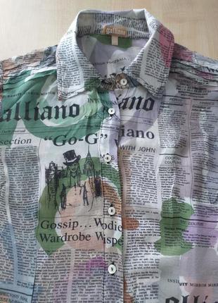 John galliano (s-xs) italy шелковая рубашка (оригинал)1