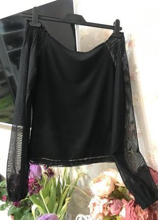 Стильная кофта, блуза/блузка со спущенными/ голыми/ открытыми плечами1