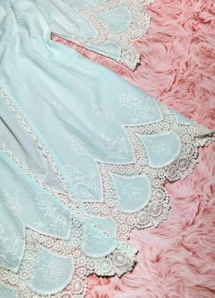 Распродажа! женское кимоно накидка мятного цвета кружево бохо4