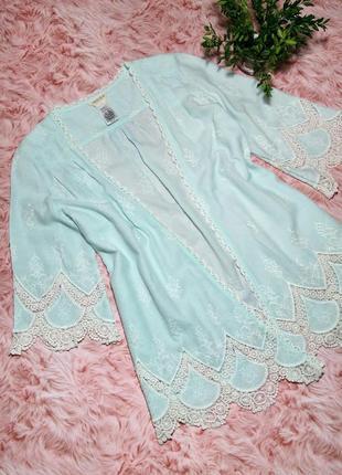 Распродажа! женское кимоно накидка мятного цвета кружево бохо1