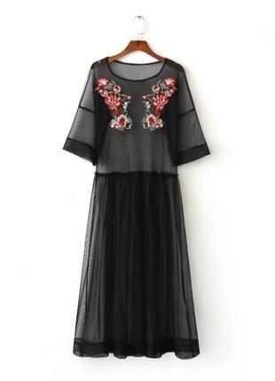Платье футболка прозрачная сетка вышивка1
