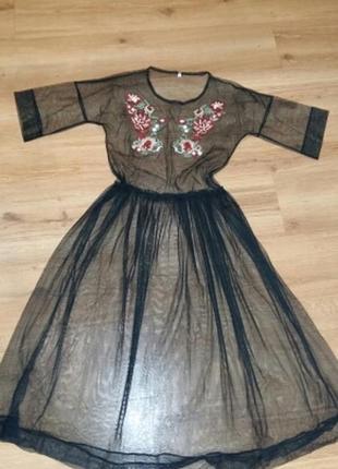 Платье футболка прозрачная сетка вышивка3