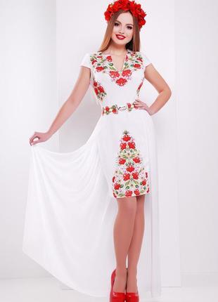 Платье плаття футляр шифоновый шлейф цветочный квітковий принт сукня1