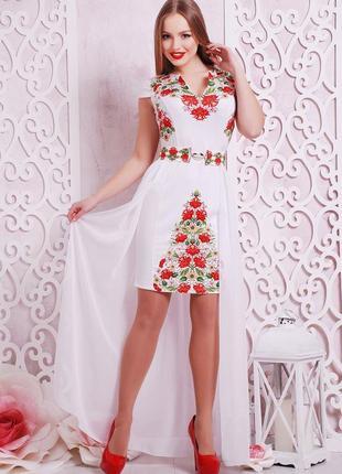 Платье плаття футляр шифоновый шлейф цветочный квітковий принт сукня4