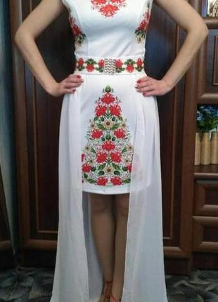 Платье плаття футляр шифоновый шлейф цветочный квітковий принт сукня5