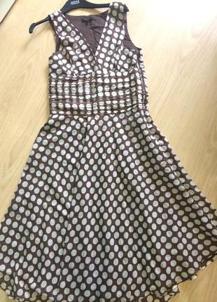 Шикарное платье с шелком в горошек1