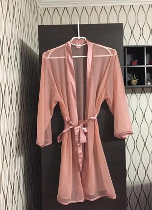 Прозрачный розовый халатик пеньюар ann summers, новый!