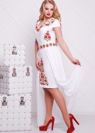 Платье плаття футляр шифоновый шлейф цветочный квітковий принт сукня9