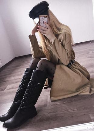 Высокие,чёрные,стёганые сапоги в стиле chanel1