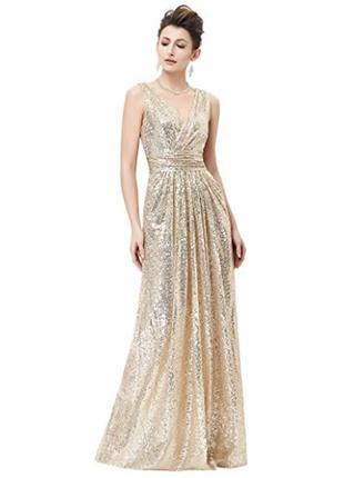 Длинное вечернее выпускное платье макси в пайетки kate kasin2