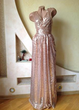 Длинное вечернее выпускное платье макси в пайетки kate kasin4