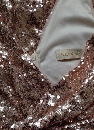 Длинное вечернее выпускное платье макси в пайетки kate kasin6