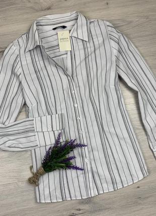 Базовая классическая приталинная рубашка в полоску