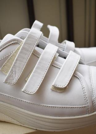 Кожаные туфли мокасины кроссовки на липучках высокая подошва1