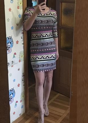 Трикотажное вечернее платье карандаш с рукавом ax paris принт стиль бохо8