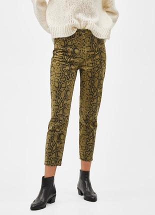 Джинси джинсы мом змеиный принт тренд bershka1 фото