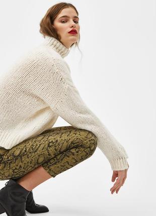 Джинси джинсы мом змеиный принт тренд bershka3 фото