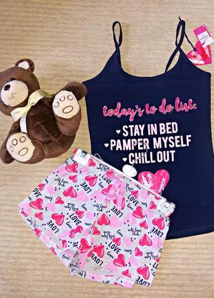 Пижама домашний комплект летний майка шорты2
