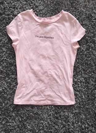 Нежная зефирная футболка с надписью топ divided xxs xs s5