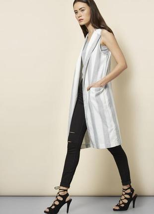 Удлиненный жилет /жакет/кардиган/жакет без рукавов в полоску new look   zara