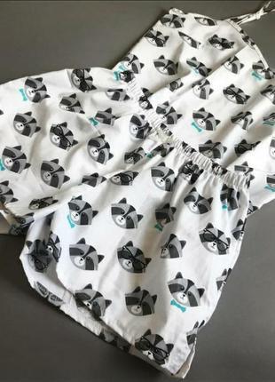 Пижама хлопковая ручной работы футболка шорты1