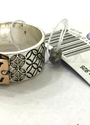 Новое серебряное кольцо позолота эмаль куб.цирконий серебро 925 пробы1