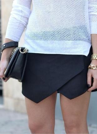 Черные мини шорты-юбка по типу zara1