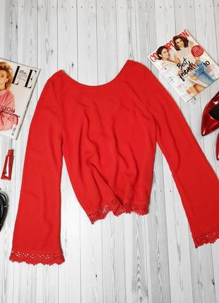 Жатка алая красная блуза кружево1