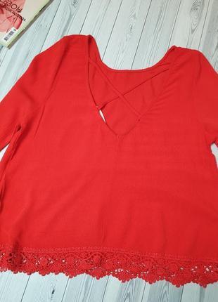 Жатка алая красная блуза кружево3