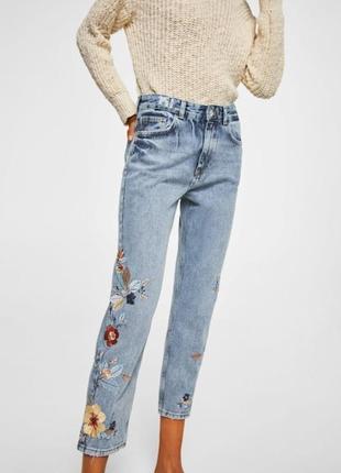 Новые джинсы с вышивкой mango, размер 12 (см. замеры)1