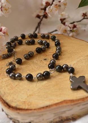 """Розарий (бусы-четки) унисекс из обсидиана и гематита с крестом """"молитва"""""""