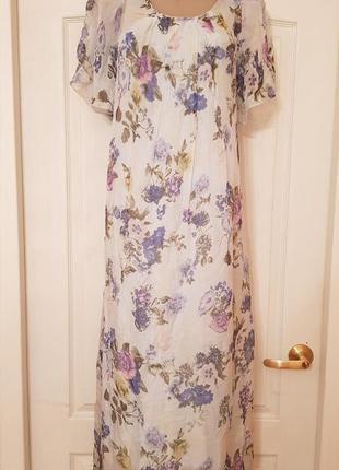 Италия! роскошное шелковое нарядное платье в пол принт цветы нежно голубого цвета1