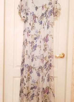 Италия! роскошное шелковое нарядное платье в пол принт цветы нежно голубого цвета3