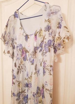 Италия! роскошное шелковое нарядное платье в пол принт цветы нежно голубого цвета5