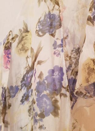 Италия! роскошное шелковое нарядное платье в пол принт цветы нежно голубого цвета6