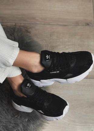 Шикарные женские кроссовки adidas falcon black/ white 😍 (весна/ лето/ осень)2