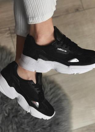 Шикарные женские кроссовки adidas falcon black/ white 😍 (весна/ лето/ осень)4