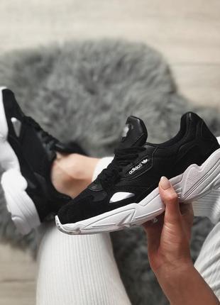Шикарные женские кроссовки adidas falcon black/ white 😍 (весна/ лето/ осень)1